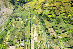 Agricoltura nel colpo dell'antenna di Tungurahua Immagine Stock