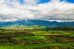 Agricoltura nelle colline pedemontana delle Ande, Sudamerica Immagine Stock