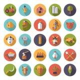 Agricoltura piana di progettazione e coltivare intorno all'insieme dell'icona Fotografia Stock