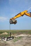 Agricoltura, portone di irrigazione al cantiere del canale Fotografie Stock Libere da Diritti