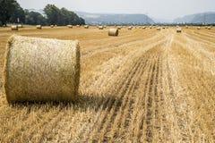 Agricoltura raccolta del campo con le balle della paglia durante l'estate Germania vicino a Andernach Fotografia Stock