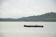 Agricoltura subacquea della gabbia del pesce dei pesci o pesce allevato in gabbia netta Immagine Stock