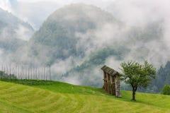 Agricoltura tradizionale, rastrelliera per il fieno in prato con le nuvole basse in Sloven Fotografie Stock Libere da Diritti