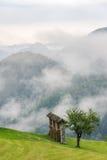 Agricoltura tradizionale, rastrelliera per il fieno in prato con le nuvole basse in Sloven Fotografia Stock