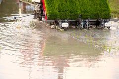 Agricoltura - trapiantatrice del riso in azienda agricola archivata Fotografia Stock Libera da Diritti