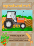 Agricolture lavoro, manifesto dell'alimento biologico Fotografia Stock