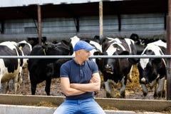Agriculteur à la ferme avec des vaches laitières images stock