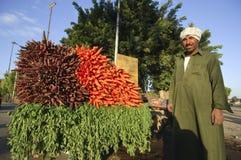 Agriculteur égyptien Selling Carrots Beside la route, le Caire, Egypte dessus Image libre de droits