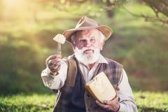 Agriculteur avec du fromage photo libre de droits