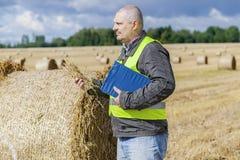 Agriculteur avec la paille à disposition près des balles de paille sur le champ Photos libres de droits