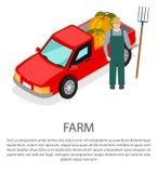 Agriculteur avec une fourche dans le chapeau près de la voiture de collecte illustration libre de droits