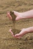 Agriculteur Checking Soil Quality de terre agricole fertile de ferme Photographie stock libre de droits