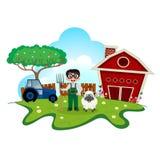 Agriculteur courant avec des moutons sur la bande dessinée de ferme pour votre conception Photographie stock libre de droits