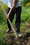 Agriculteur creusant le sol avec la pelle, jeune homme adulte avec les bottes en caoutchouc images stock