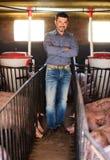 Agriculteur d'homme se tenant dans la porcherie Photographie stock