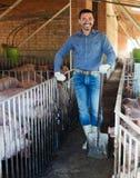 Agriculteur d'homme se tenant dans la porcherie Image stock