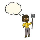 agriculteur de bande dessinée avec la fourche avec la bulle de pensée Photo stock