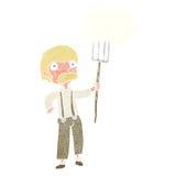 agriculteur de bande dessinée avec la fourche avec la bulle de pensée Photographie stock