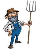 Agriculteur de bande dessinée avec une fourche Photo stock