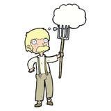agriculteur de bande dessinée avec la fourche avec la bulle de pensée Images libres de droits