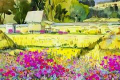 Agriculteur de cottage et fleur, gisement de riz pendant le matin illustration de vecteur