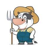 Agriculteur de vache tenant un râteau illustration stock