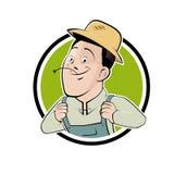 Agriculteur drôle de bande dessinée dans un insigne illustration libre de droits