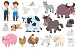 Agriculteur et animal de ferme illustration stock