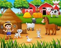 Agriculteur et animal de ferme dans la basse cour illustration libre de droits