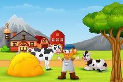 Agriculteur et animal de ferme dans le paysage illustration de vecteur