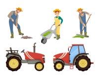 Agriculteur et machines agricoles, bannière de vecteur illustration libre de droits