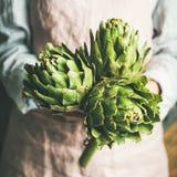 Agriculteur féminin dans le tablier tenant les artichauts frais, culture carrée images libres de droits