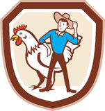 Agriculteur Feeder Shield Cartoon de poulet Image libre de droits
