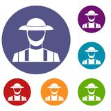Agriculteur Icons Set Image stock