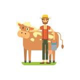 Agriculteur mignon avec des vaches se tenant, illustration plate Ferme de vache Produit organique illustration de vecteur