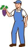 Agriculteur organique Boy Grapes Standing rétro Photos stock