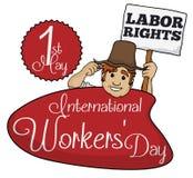 Agriculteur Promoting Labor Rights dans le jour des travailleurs, illustration de vecteur Photos libres de droits