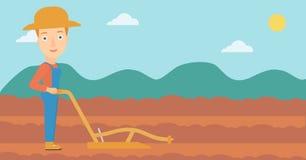 Agriculteur sur le champ avec la charrue illustration libre de droits