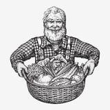 Agriculteur tenant un panier des légumes Naturel, aliment biologique photos stock