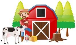 Agriculteur travaillant dans la ferme illustration stock
