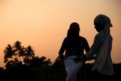 Agriculteur travaillant dans un domaine de riz dans le coucher du soleil Photographie stock libre de droits