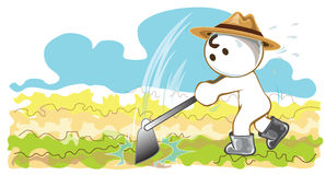 Agriculteurs à l'aide des houes à planter des légumes Photo stock