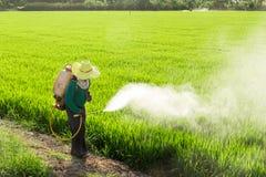 Agriculteurs pulvérisant des pesticides Image libre de droits