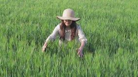 Agricultrice appr?ciant la nature et le soleil banque de vidéos