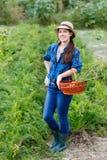 Agricultrice avec des carottes dans le panier image libre de droits