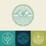 Agricultura do vetor e linha orgânica logotipos da exploração agrícola ilustração royalty free