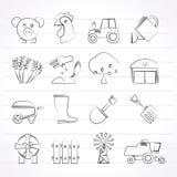 Agricultura e ícones do cultivo Fotografia de Stock