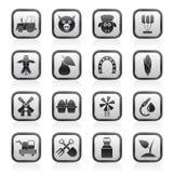 Agricultura e ícones do cultivo Imagens de Stock Royalty Free