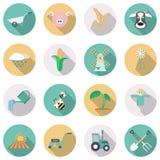 Agricultura e ícones do cultivo Ilustração do vetor Imagens de Stock Royalty Free