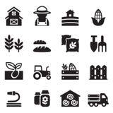 Agricultura e ícones do cultivo ajustados Imagem de Stock